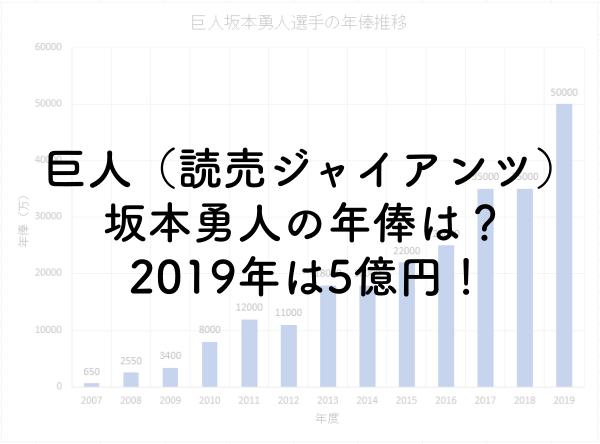 巨人坂本勇人の年俸は?2019年は5億円!