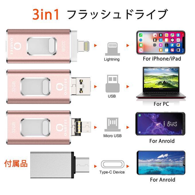 Qarfeeの「3in1 USBメモリ」はあらゆるデバイスでデータのやり取りが可能