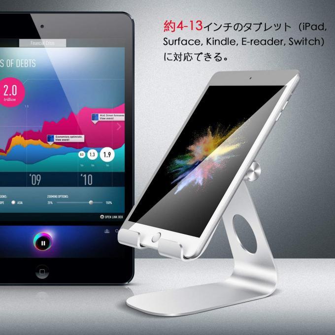 「Lomicall タブレット/iPadスタンド」は4インチから13インチと幅広いサイズのタブレットに対応