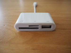 「ライトニングSDカードリーダー」はSDカード、microSDカード、USBの3種類のポートがある