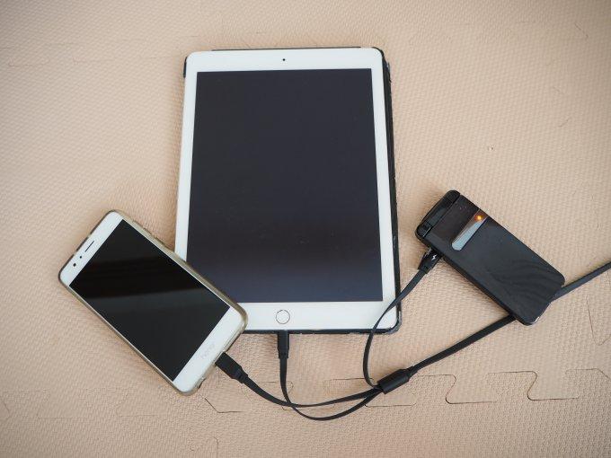 passall 3in1充電ケーブルは異なる3つのデバイスを同時に充電できる