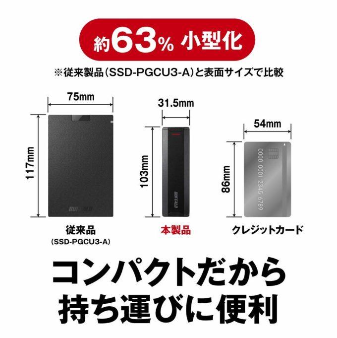 「SSD-PH1.0U3-BA」はコンパクトでカバンに入れて持ち運びやすいサイズ