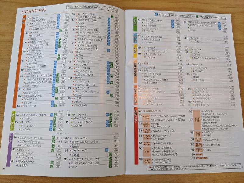 KN-HW24Eのレシピブックには100種類以上のメニューが記載されている